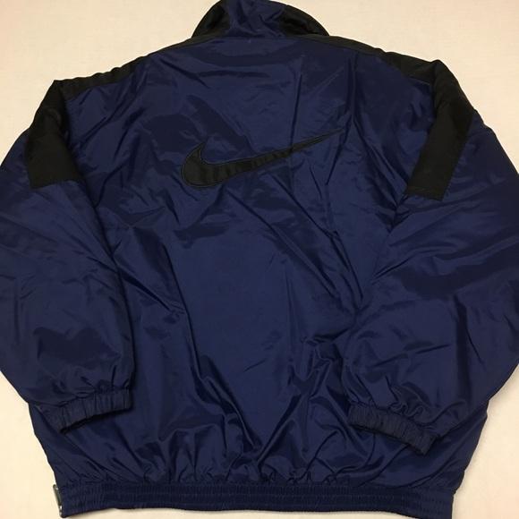 eef52a0e1cff Vintage Nike pullover big logo 1 2 zip blue jacket.  M 5ab9399c31a3764b813ed750